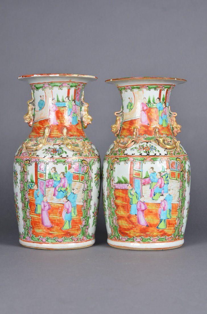 Pair of Canton Famille Rose Porcelain Vases