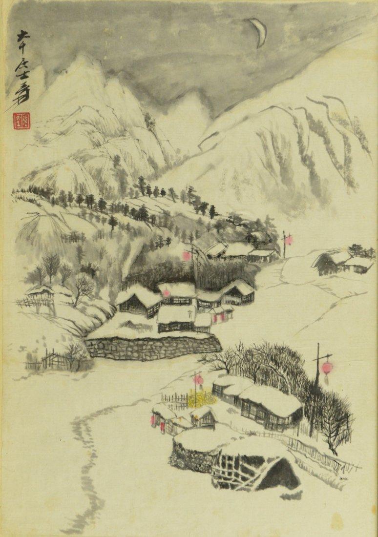Watercolour Painting of Snow Scene Zhang Da Qian