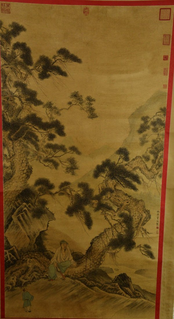 Painting of Pine Tree Signed Chou Ying w Ming Mark
