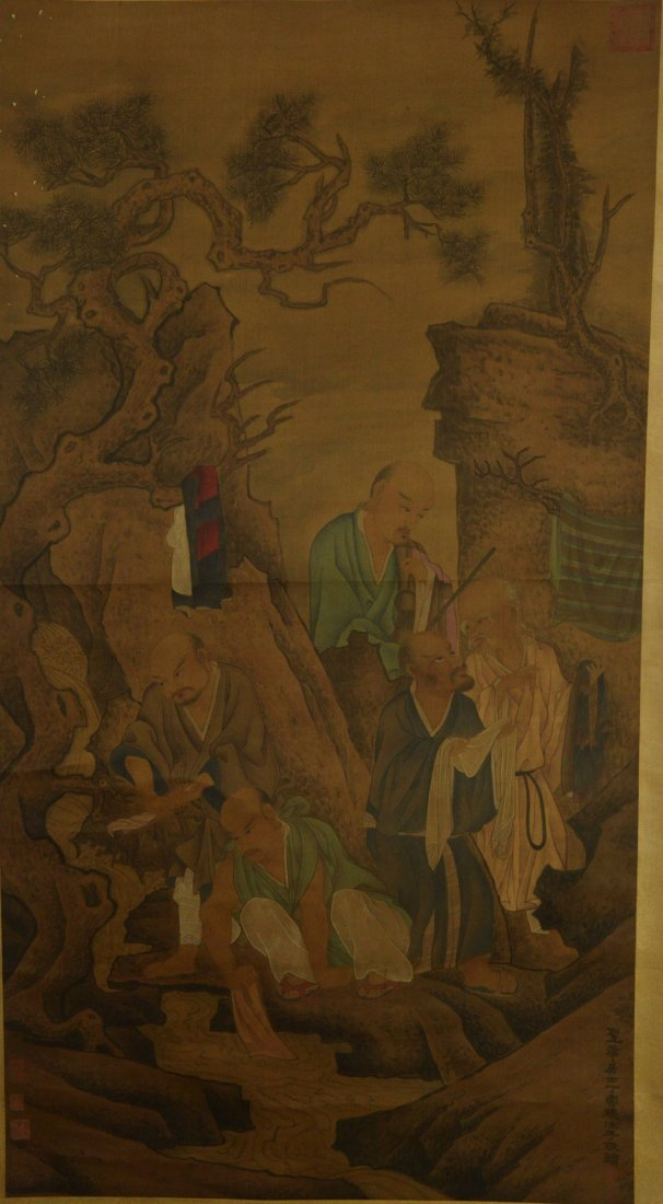 Painting of Lohans Signed Ding Xue Peng w Ming Mk