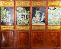 Set of Four Chinese Gilt Rosewood Screens