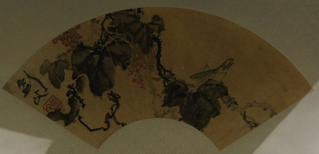 Chinese Fan Painting Signed Gao Jian Fu 1879-1951
