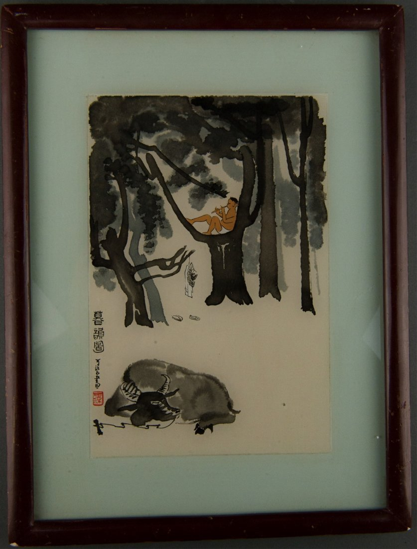 Original Chinese Painting on Glass by Li Keran