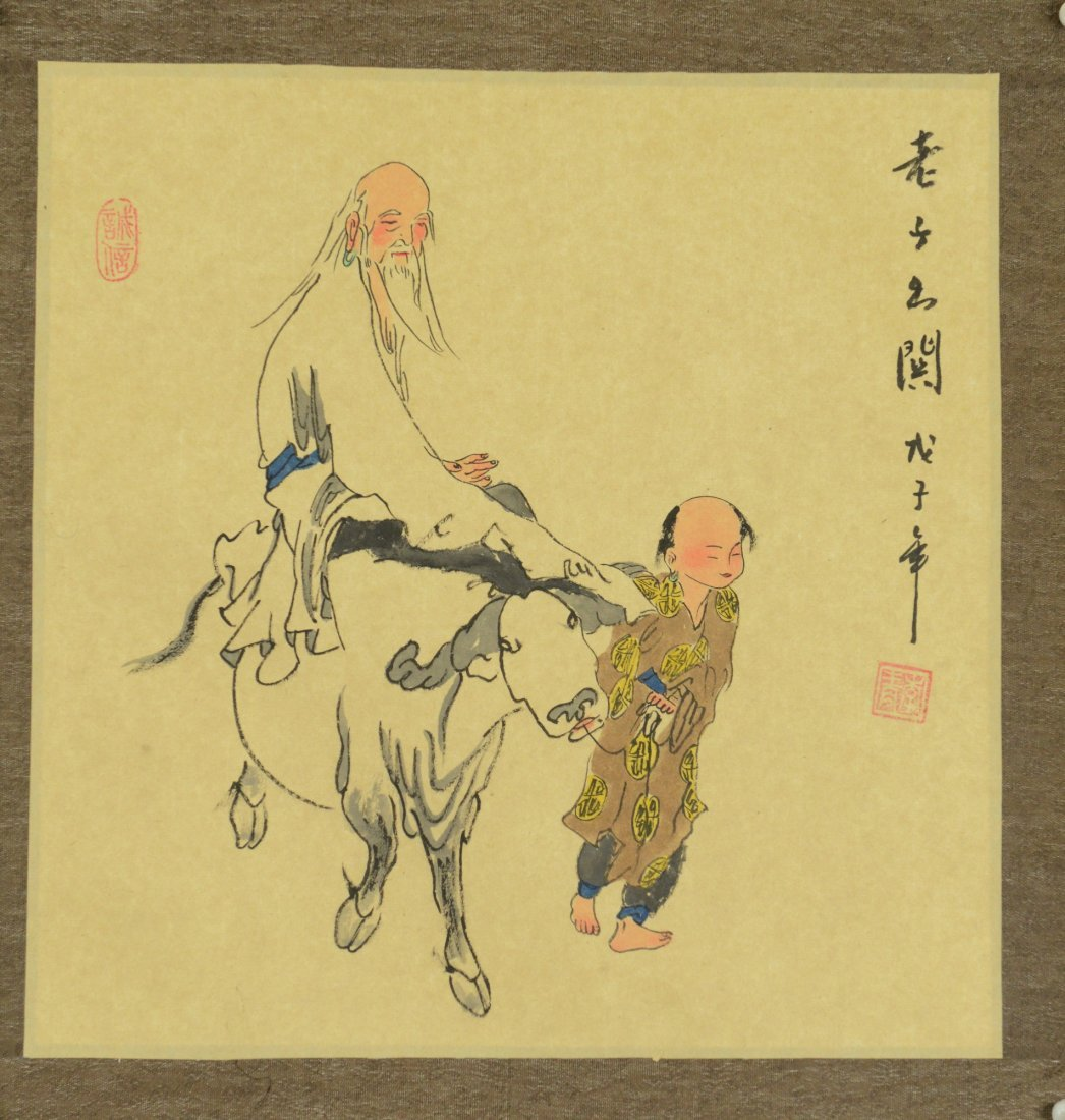 Chinese Watercolour Painting Old Man on Cow