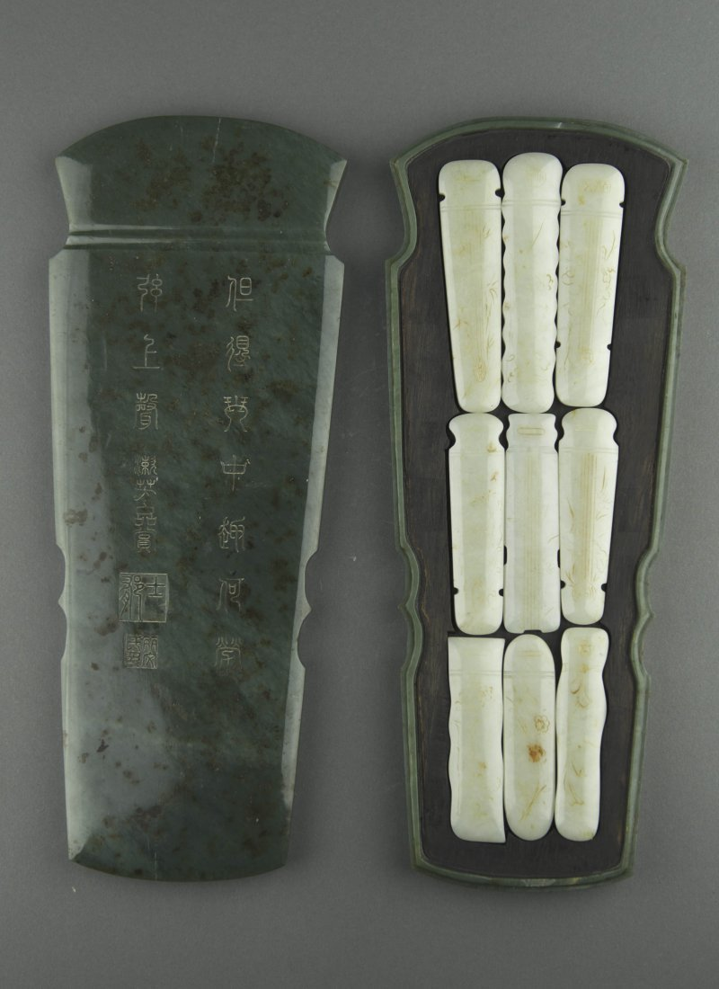 Important Jade Guqin Set w Jiaqing Imperial Mark