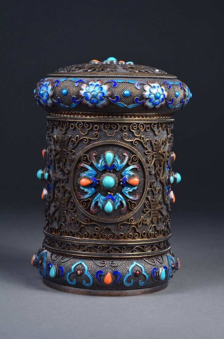 19/20th C Chinese Silver, Coral & Turquoise Box