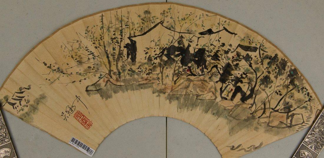 Fan Painting Signed Wu Guan Zhong & Qi Gong 1982