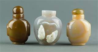 Charming 3 Pcs Chinese Agate Carved Snuff Bottles