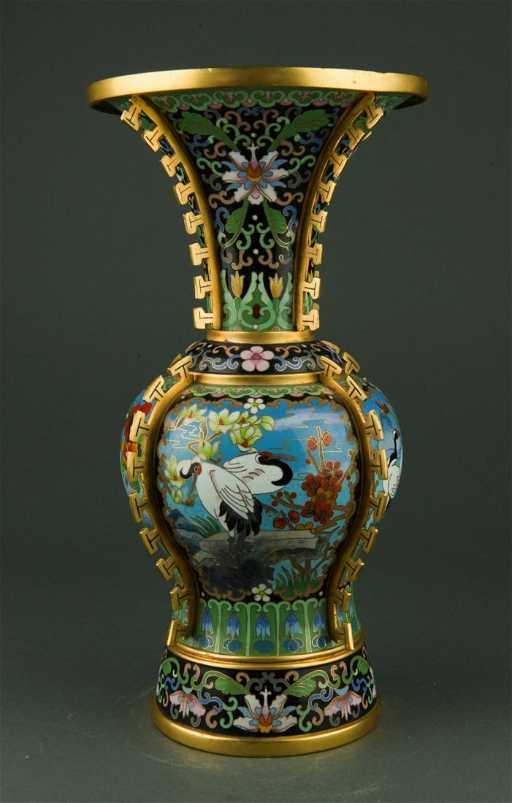 Ornate Chinese Bronze Cloisonne Vase Painted Crane