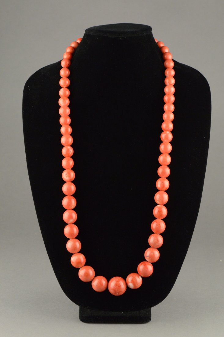 Chinese Carved Coral Bead Necklace 57 Round Beads