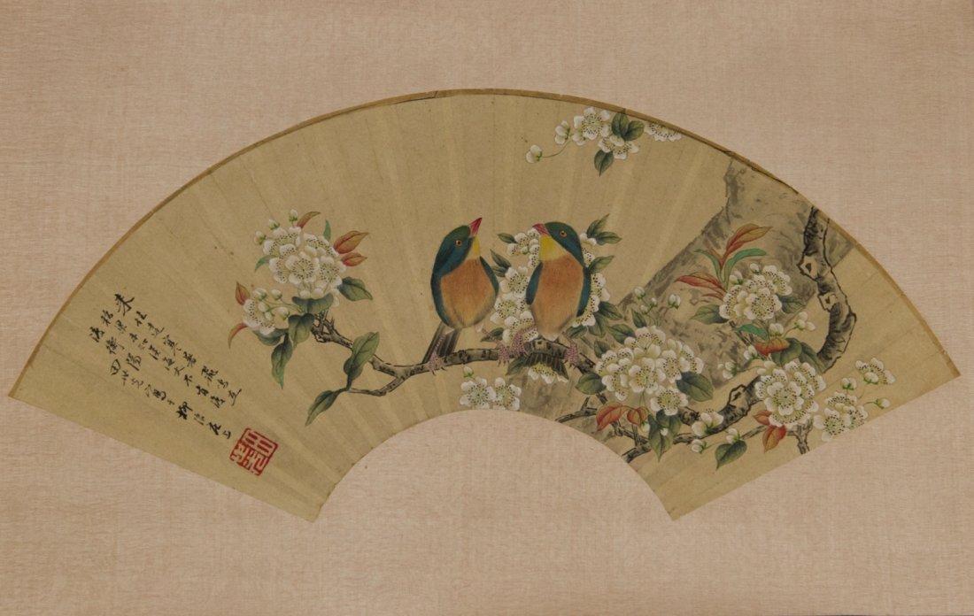 Fan Painting of Songbirds Signed Tian Shi Guang