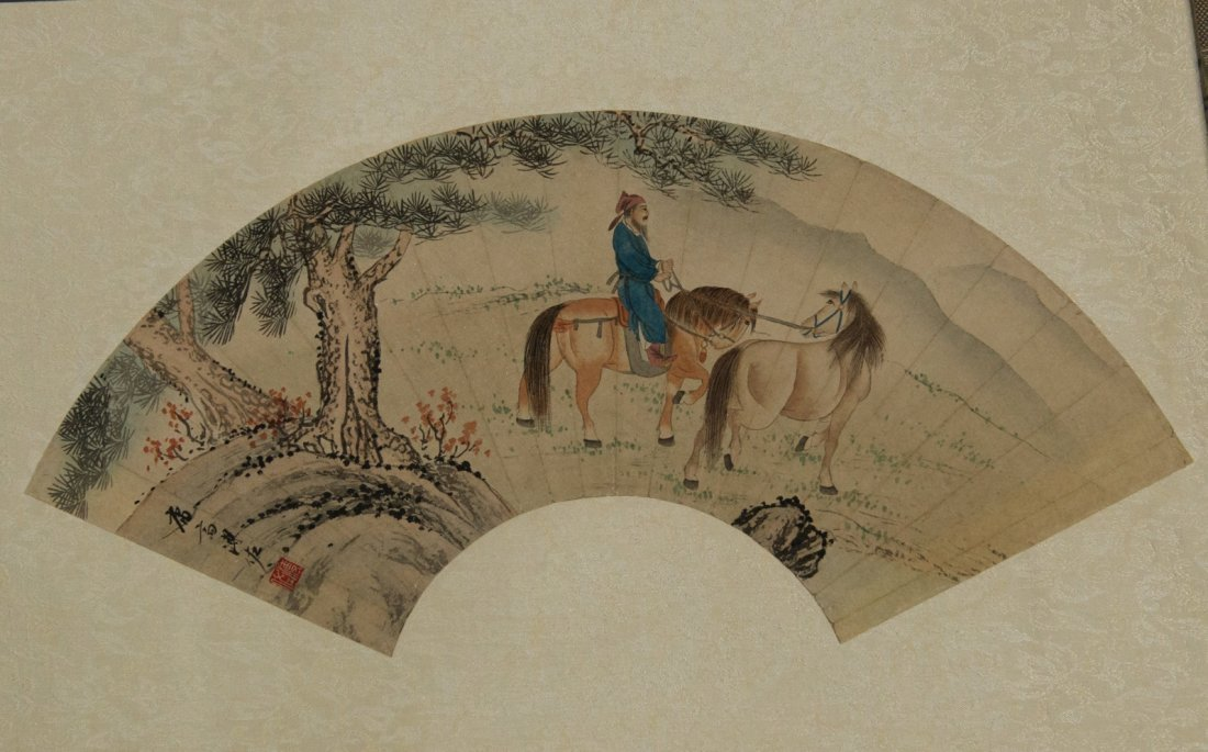 Fan Painting of General on Horse Signed Pu Zuo