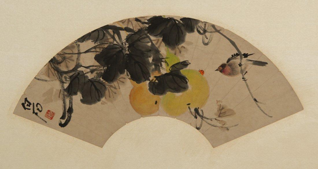Chinese Fan Painting of Calabash Style of Qi Bashi
