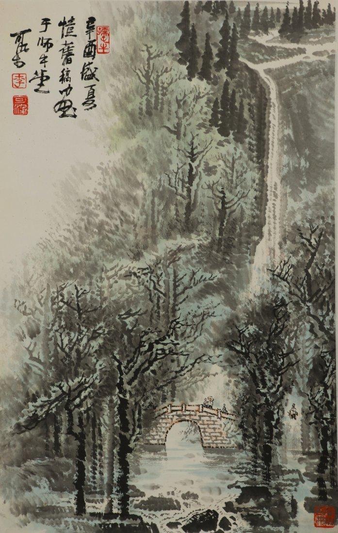 Waterfall Painting Signed Li Ke Ran w Certificate