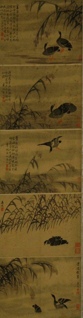 Painting of Mandarin Ducks Signed Shao Min Ding