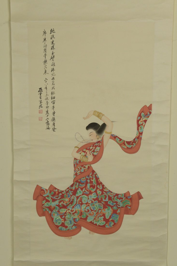 Chinese Scroll Painting of Lady Sign Sun Yunsheng