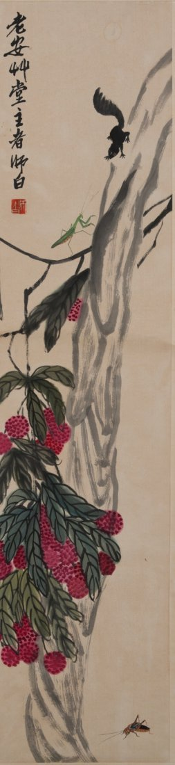 Painting of Flower & Insect Signed Qi Baishi