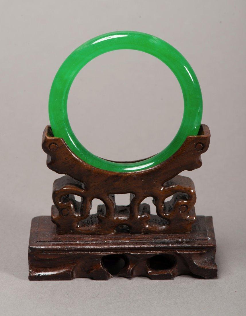 Fine Translucent Emerald Green Jadeite Bangle