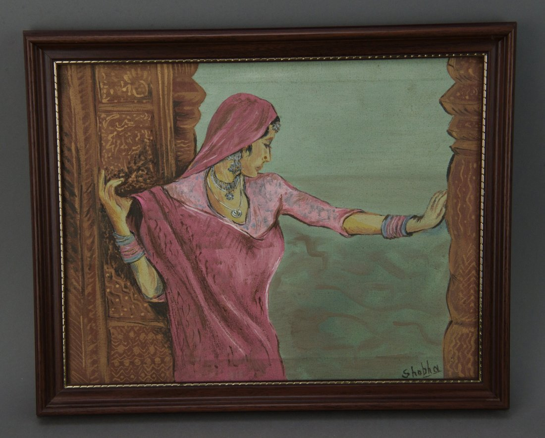 Indian Oil on Canvas of Lady in Sari Signed Shobha
