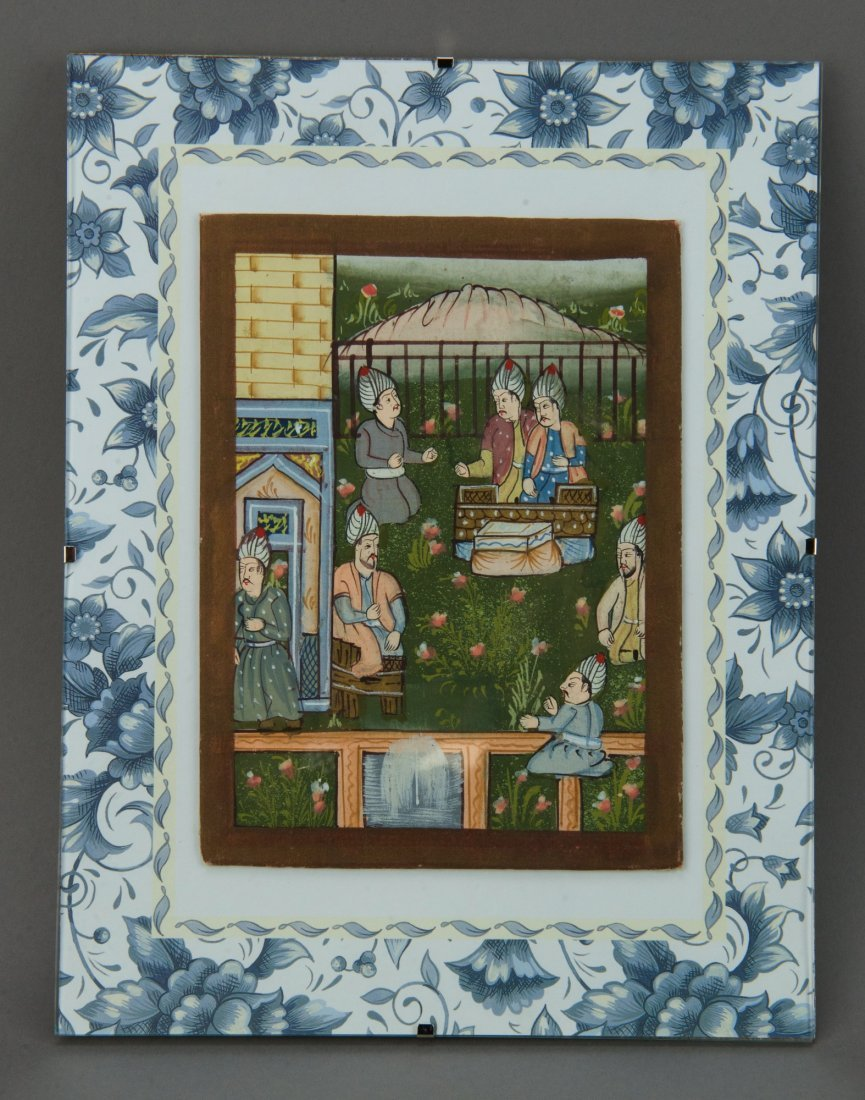 Indian Miniature Mughal Painting on Silk Board