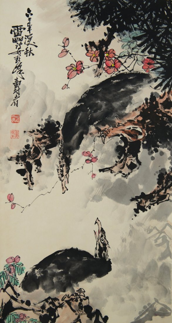 Chinese Painting of Eagles Signed Pan Tin Shou
