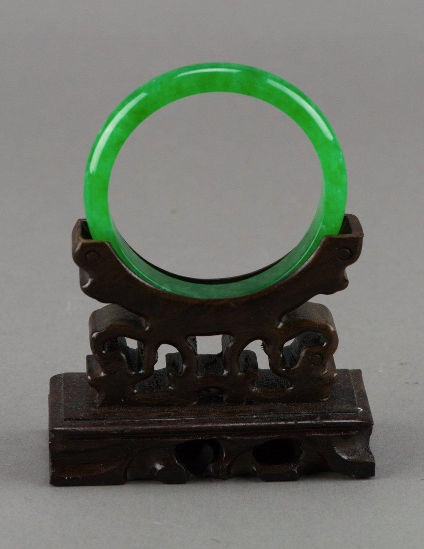 Fine Chinese Emerald Green Jadeite Bangle