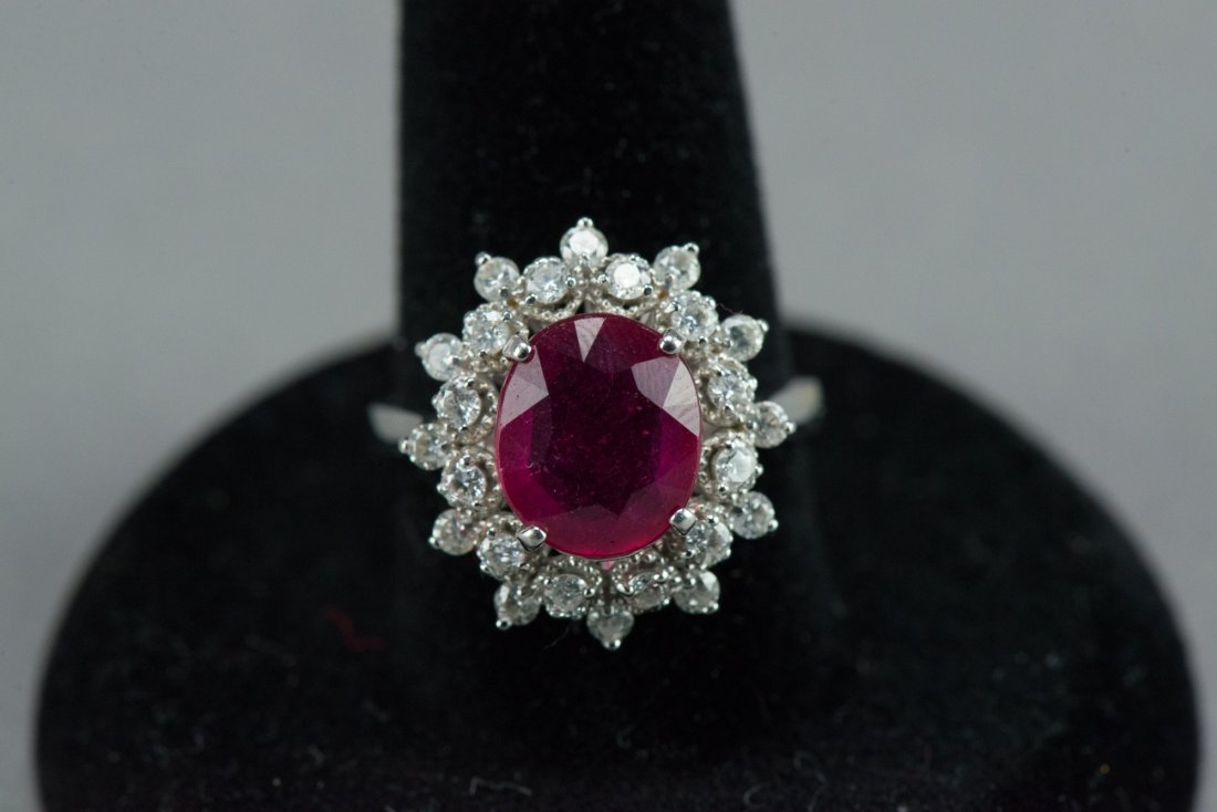 Lady's 14K Diamond & Ruby Ring w Appraisal Cert