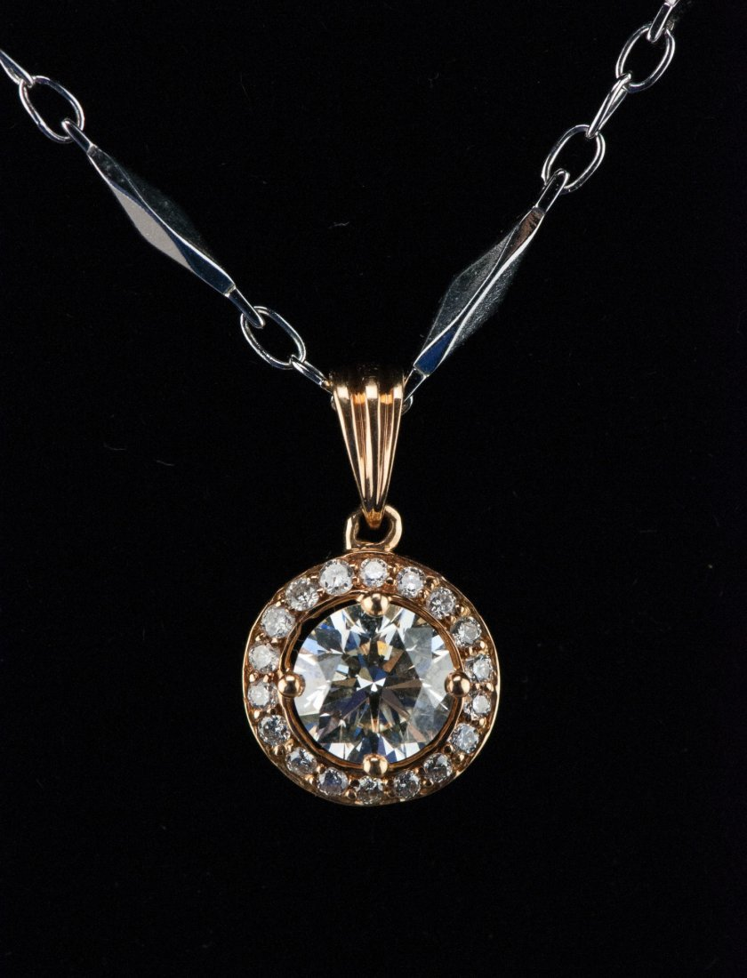 Fine 18K Necklace w 1.04 ct VVS1 Diamond & Cert