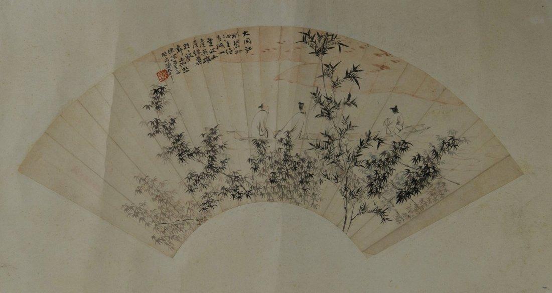 Chinese Fan Painting Signed Zhang Da Qian