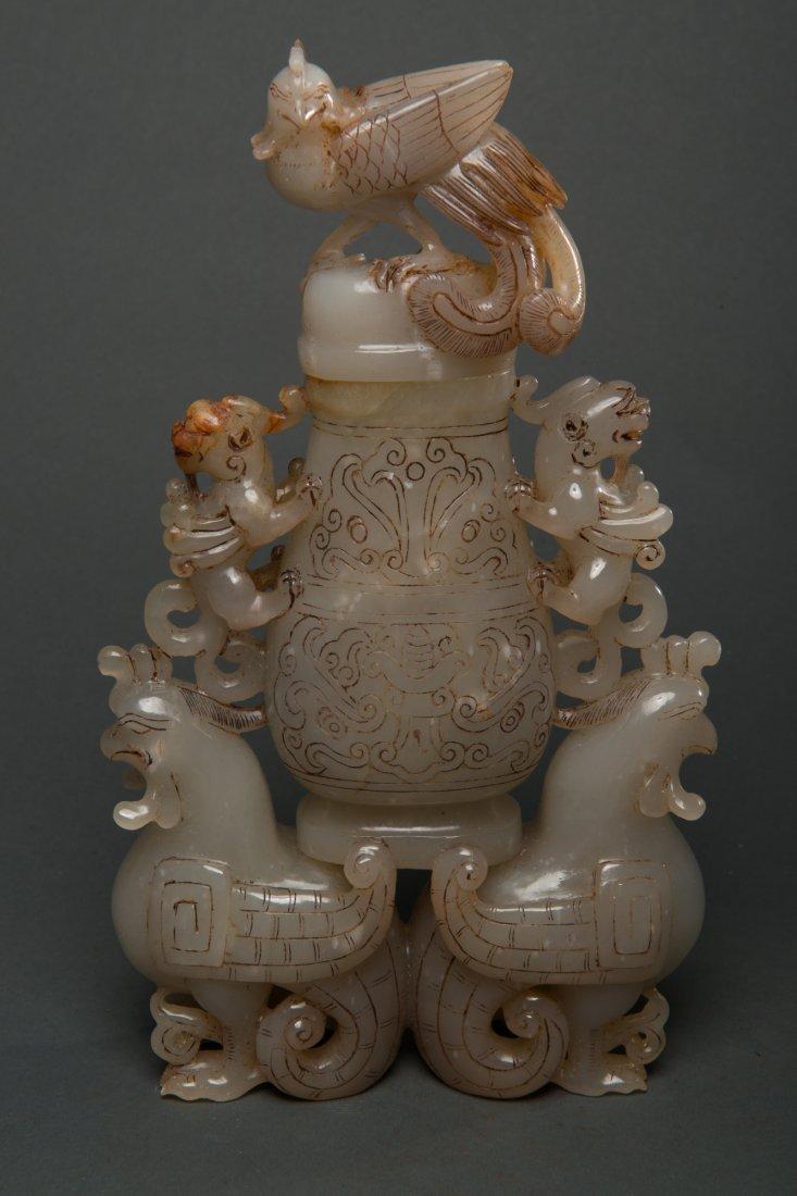 Chinese Old White Jade Carved Phoenix Vase w Lid