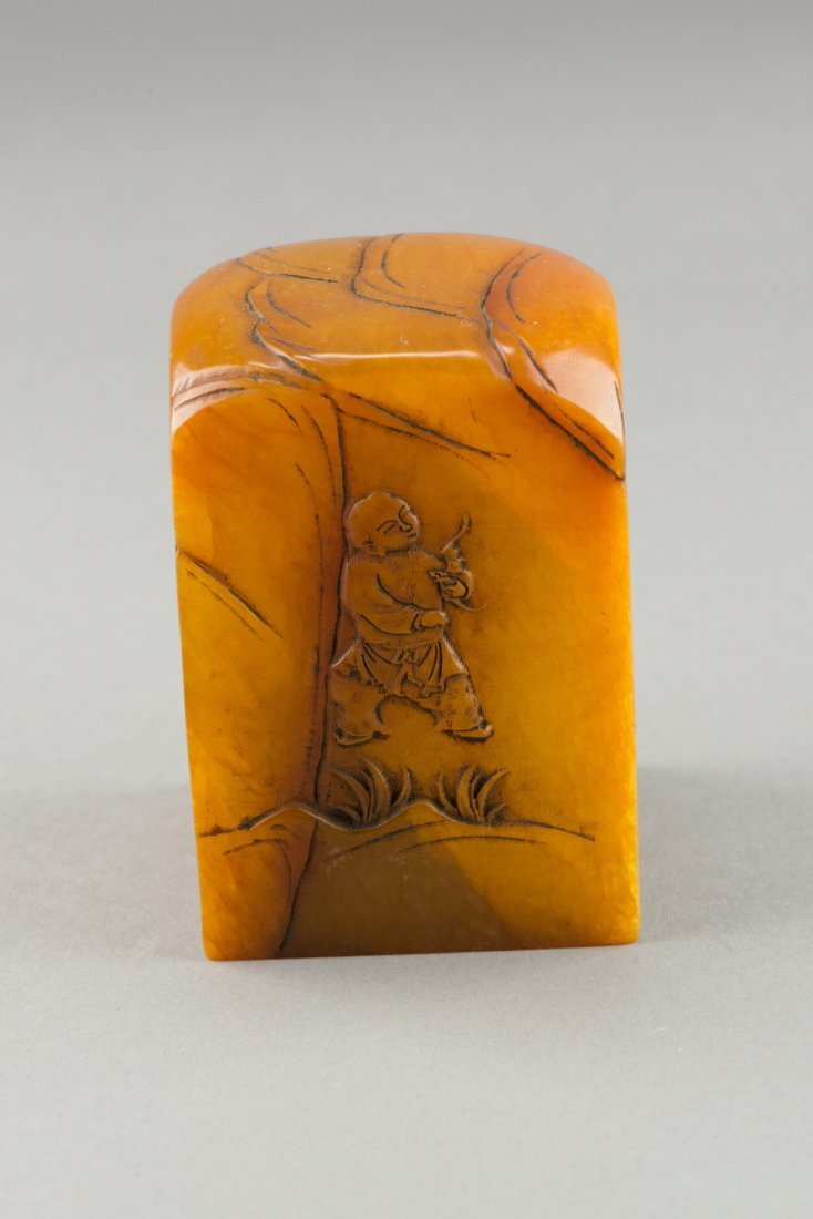 Chinese Tianhuang Stone Figure & Landscape Seal