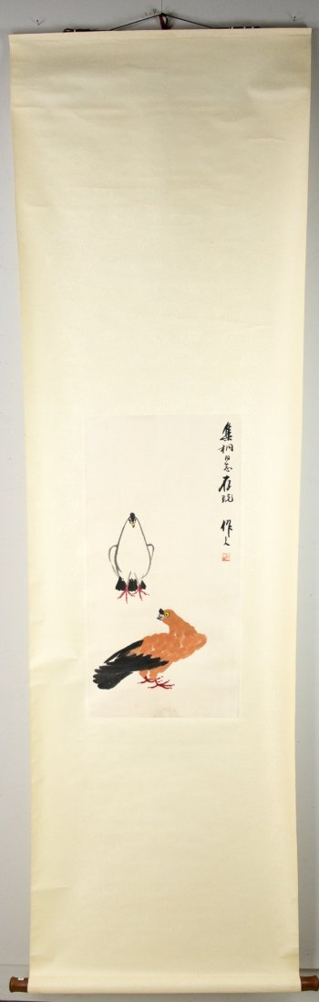 Chinese Painting of Chickens Signed Wu Zuo Ren - 3