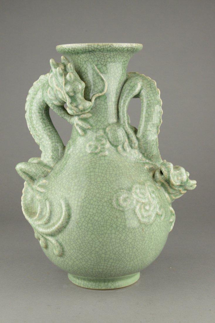 Chinese Ming Style Dragon Celadon Glazed Vase