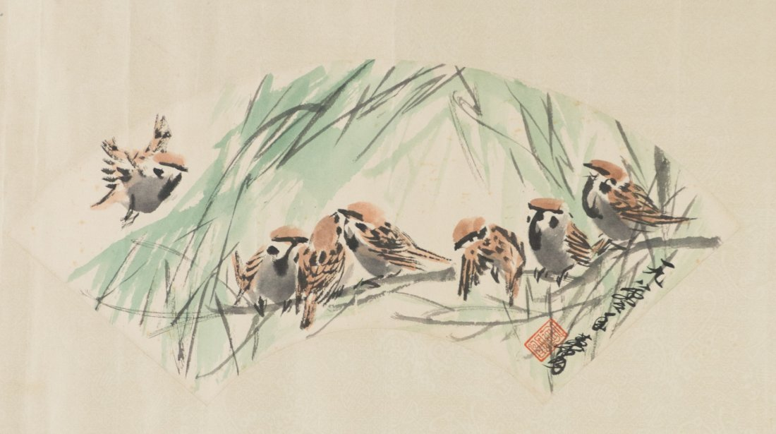Chinese Sparrows Fan Painting Huang Zhou 1980