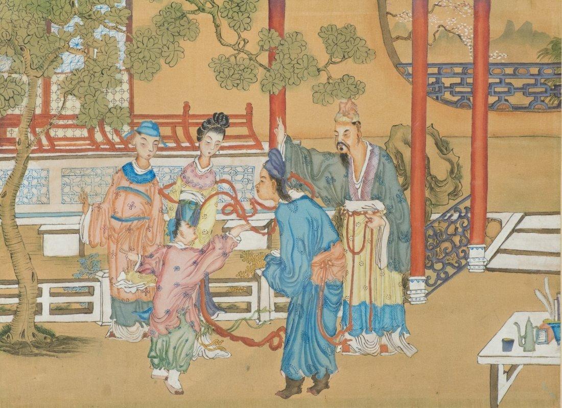 Chinese Court Scene Painting Framed