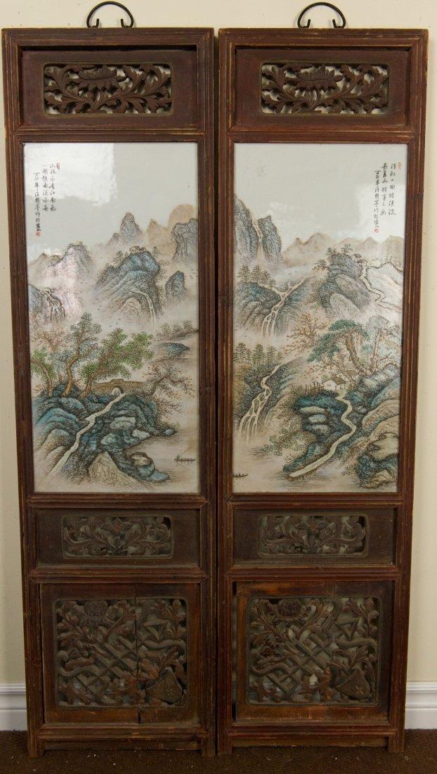 2 Framed Porcelain Plaque Signed Zhu Shan Ba You