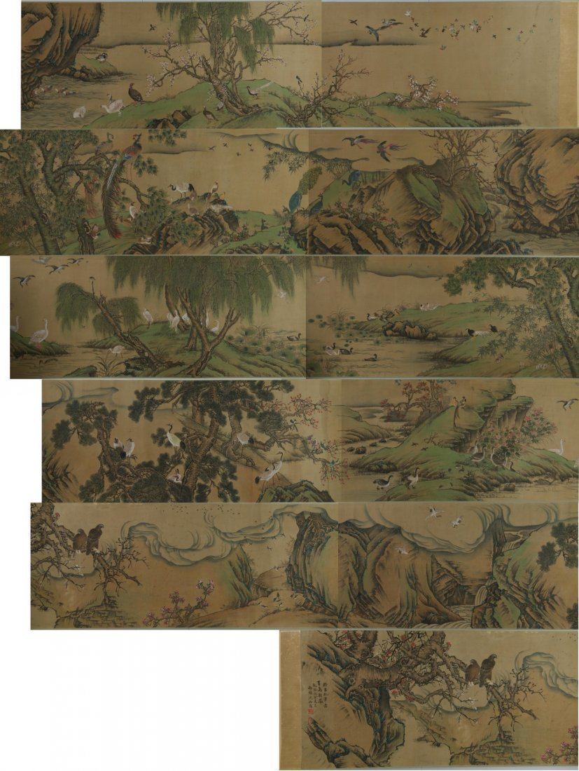 Chinese Long 100 Birds Silk Painting Shen Quan