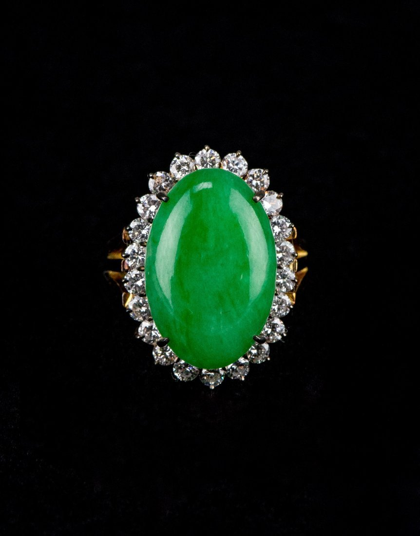 Emerald Green Grade A Jadeite 18K Gold Ring 22 Diamonds