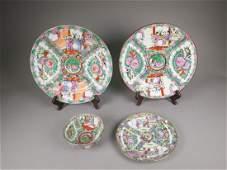 Set Four Canton Enamel Porcelain Dishes Qianlong