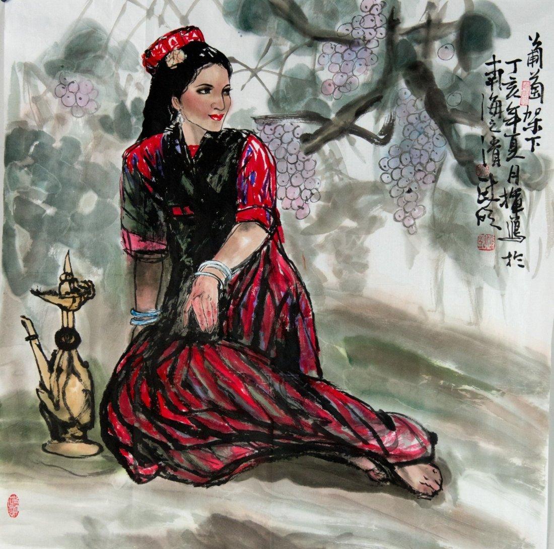 Chinese Lady Painting Chen Jing Ming b1941