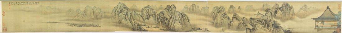 Chinese WC Landscape Hand Scroll Qiu Yin 1494-1552