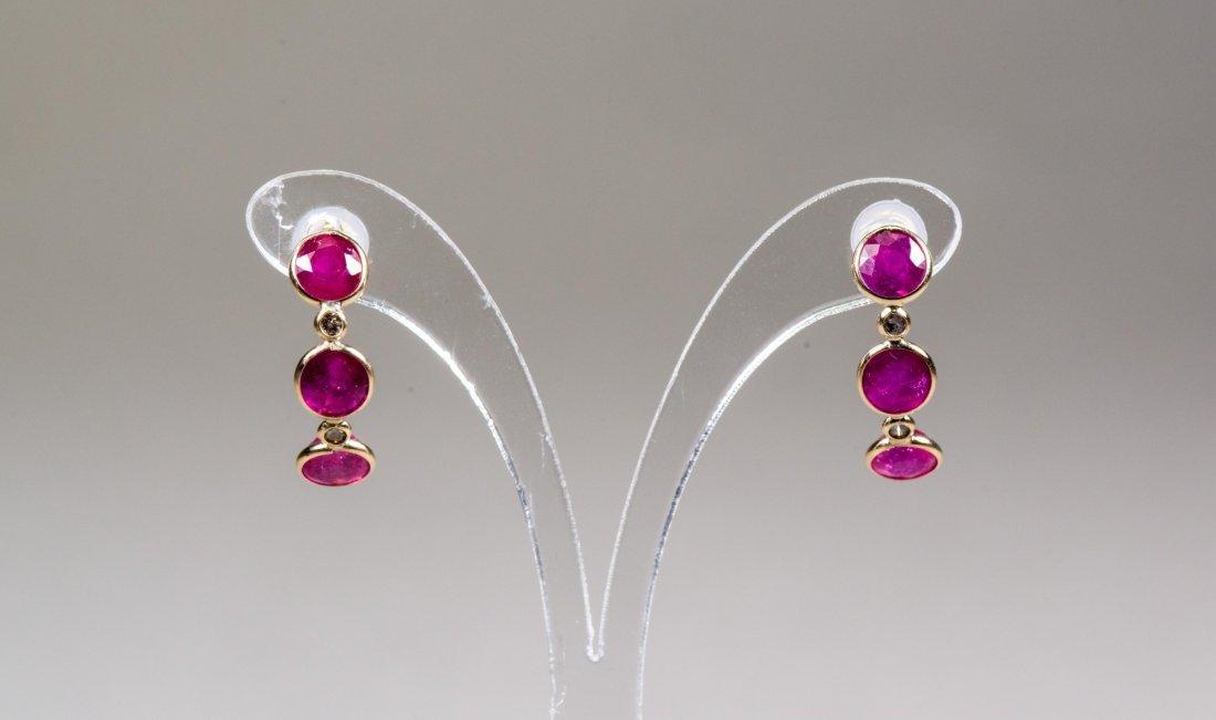 Ruby 6.0 ct & Diamond 0.17 ct Earrings $2950
