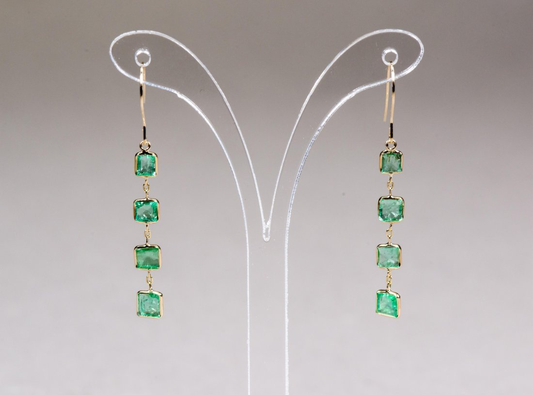 14K Gold Emerald (3.0 ct) Earrings Appraised $3650