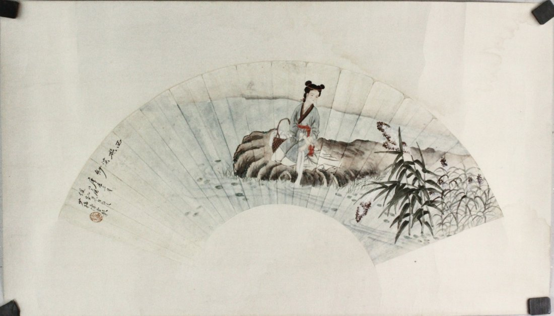 Chinese WC Painting on Paper Fan Chen Yunzhang