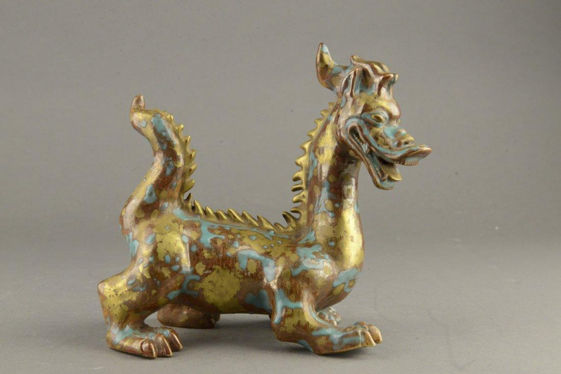 Chinese Gilt Bronze Dragon Figure w Blue Splashes