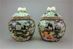 Pair Chinese Famille Verte Porcelain Jars wCover