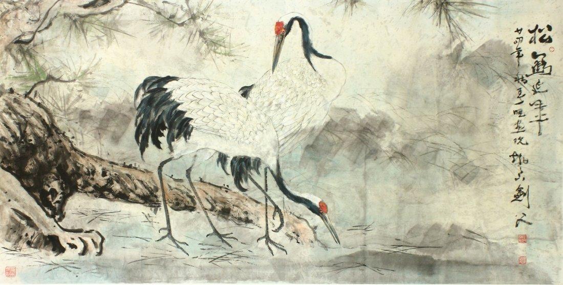WC Crane Painting on Paper Gao Jianfu 1879-1951