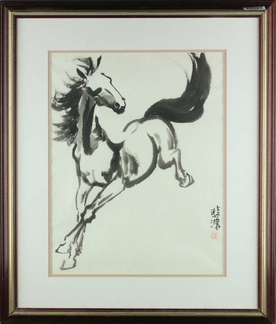 Chinese WC Painting Framed Xu Beihong 1895-1953
