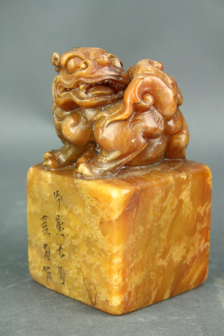 Chinese Shoushan Stone Carved Dragon Square Seal