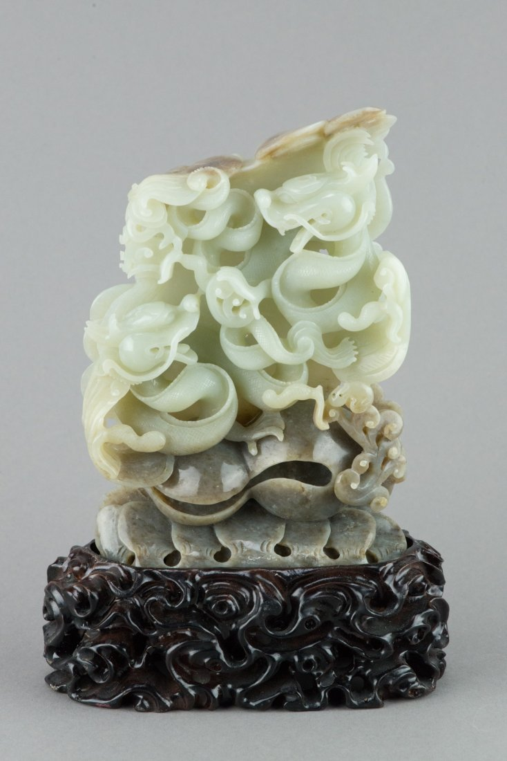 Fine Chinese White Jade Carved Dragon Boulder